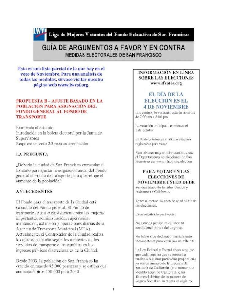 Guía De Argumentos A Favor Y En Contra Liga De Mujeres Votantes Del Fondo Educativo De San Francisco Pdf Document