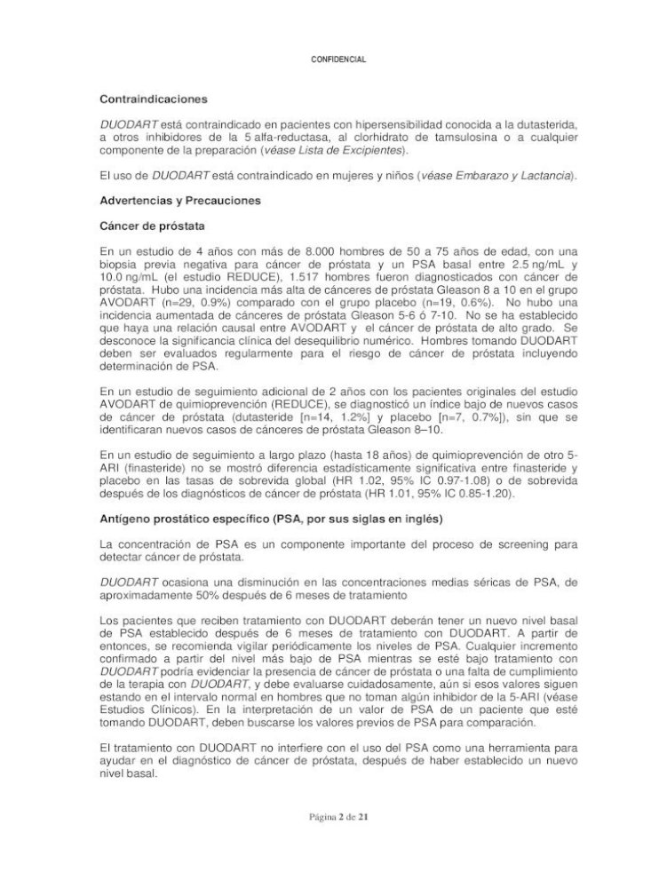 Duodart Dutasterida Clorhidrato De Tamsulosina Confidencial Duodart آ Dutasterida Clorhidrato Pdf Document